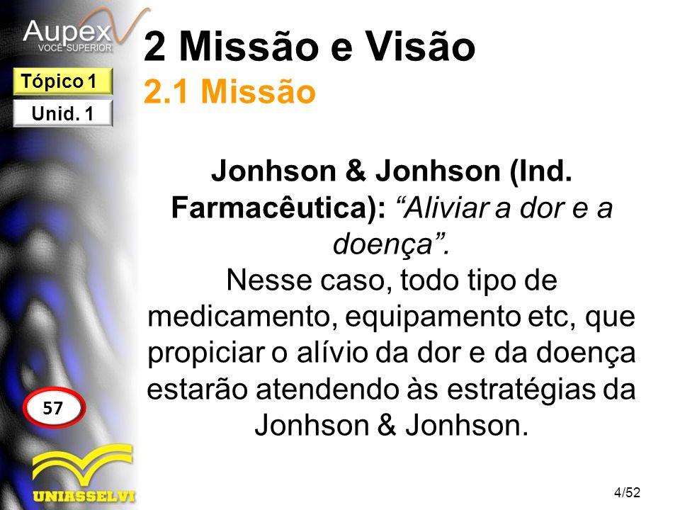 Jonhson & Jonhson (Ind. Farmacêutica): Aliviar a dor e a doença .