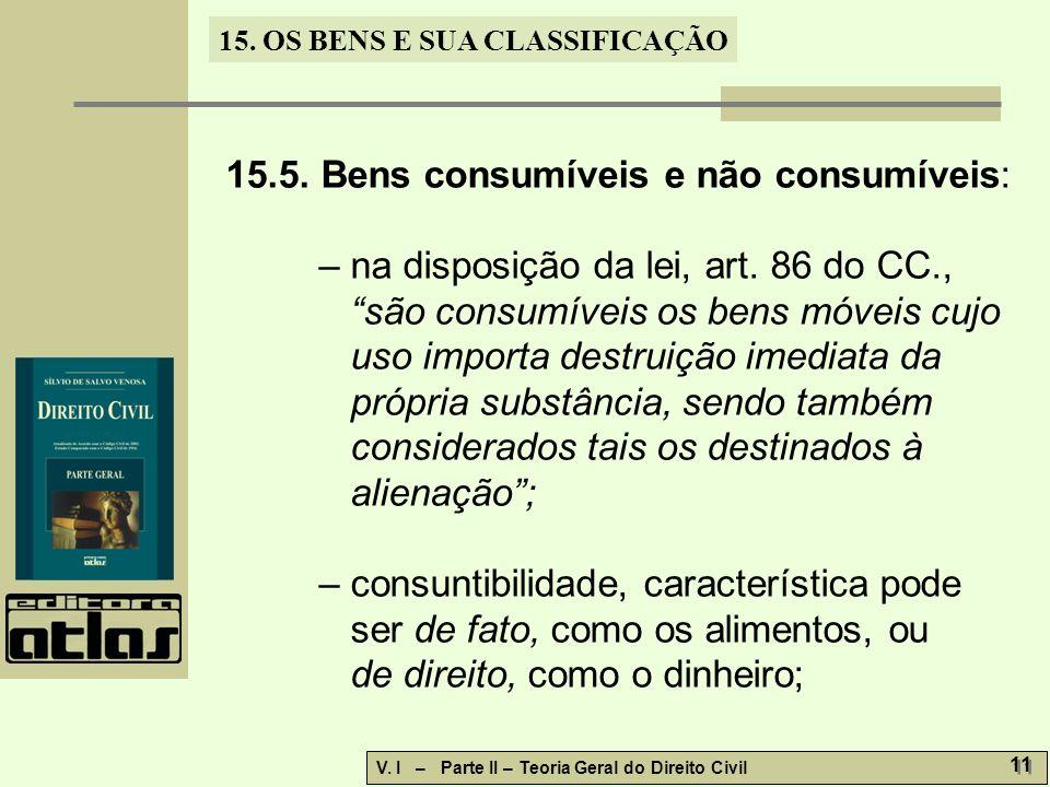 15.5. Bens consumíveis e não consumíveis:
