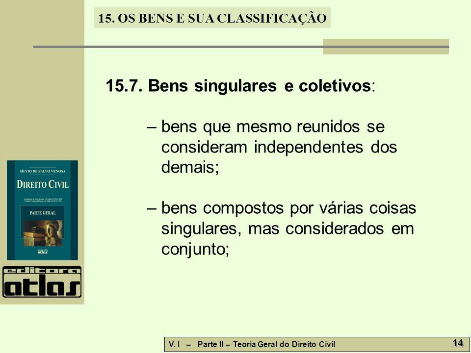 15.7. Bens singulares e coletivos: