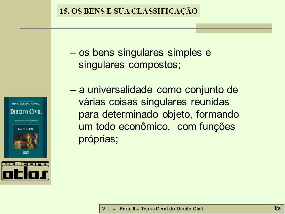 – os bens singulares simples e singulares compostos;