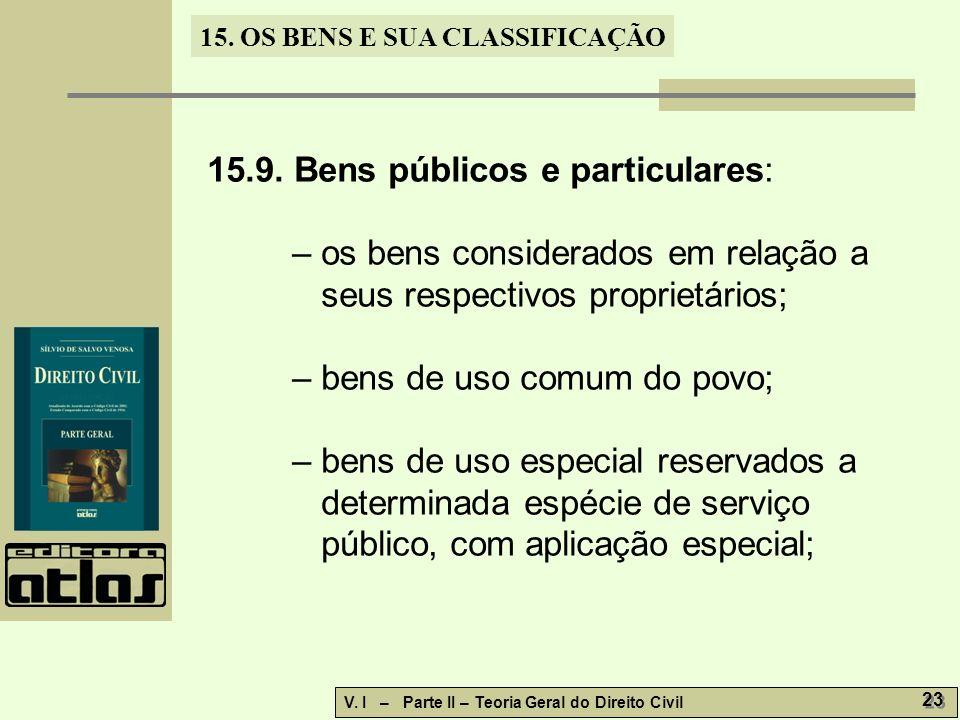 15.9. Bens públicos e particulares:
