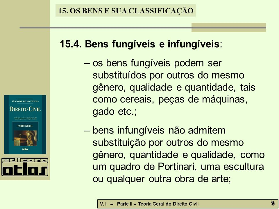15.4. Bens fungíveis e infungíveis: