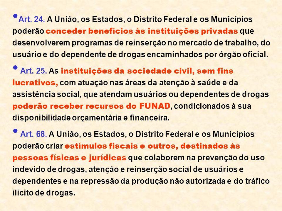 Art. 24. A União, os Estados, o Distrito Federal e os Municípios poderão conceder benefícios às instituições privadas que desenvolverem programas de reinserção no mercado de trabalho, do usuário e do dependente de drogas encaminhados por órgão oficial.