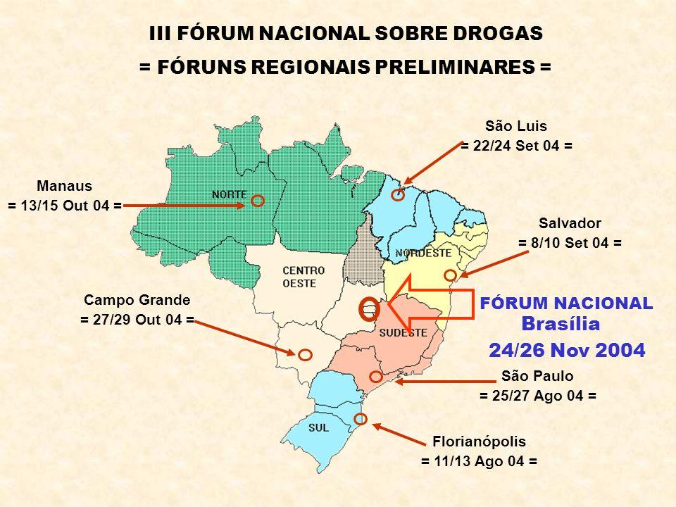 III FÓRUM NACIONAL SOBRE DROGAS = FÓRUNS REGIONAIS PRELIMINARES =