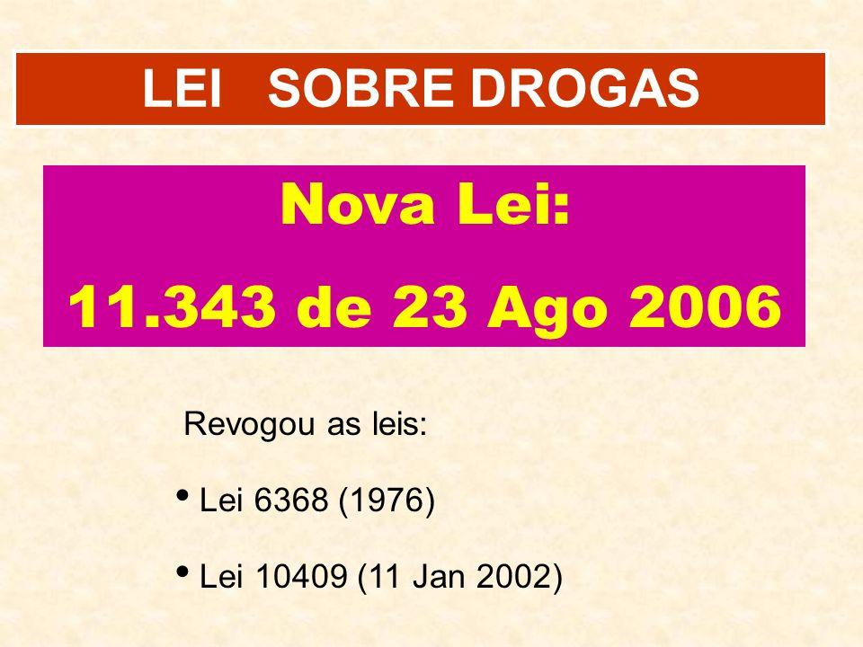 Nova Lei: 11.343 de 23 Ago 2006 LEI SOBRE DROGAS Revogou as leis: