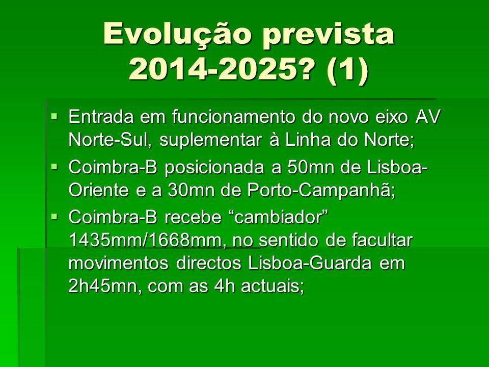 Evolução prevista 2014-2025 (1) Entrada em funcionamento do novo eixo AV Norte-Sul, suplementar à Linha do Norte;