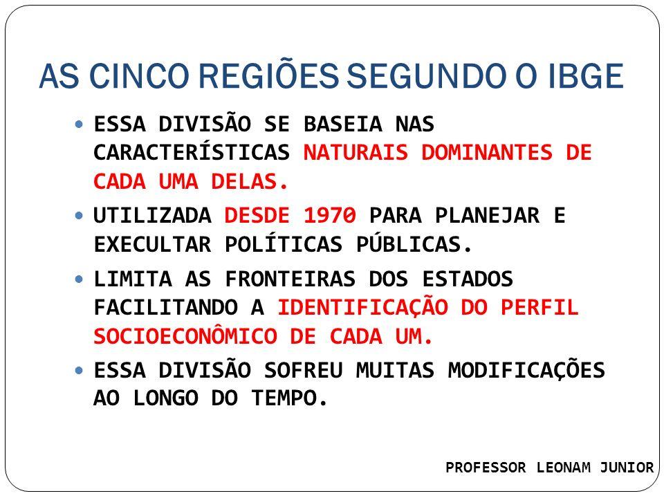 AS CINCO REGIÕES SEGUNDO O IBGE