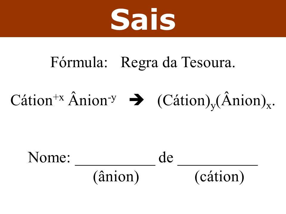 Sais Fórmula: Regra da Tesoura. Cátion+x Ânion-y  (Cátion)y(Ânion)x.