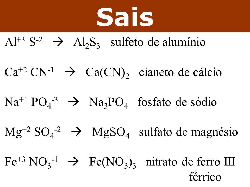 Sais Al+3 S-2  Al2S3 sulfeto de alumínio