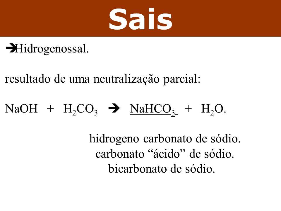 Sais Hidrogenossal. resultado de uma neutralização parcial: