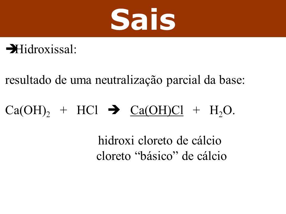 Sais Hidroxissal: resultado de uma neutralização parcial da base: