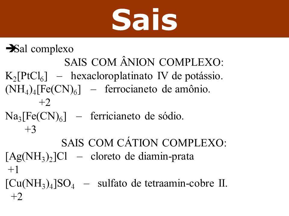 Sais Sal complexo sais com ânion complexo: