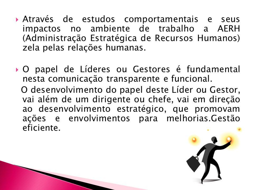 Através de estudos comportamentais e seus impactos no ambiente de trabalho a AERH (Administração Estratégica de Recursos Humanos) zela pelas relações humanas.