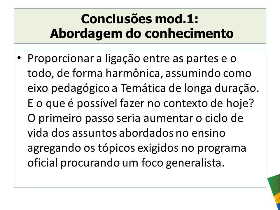 Conclusões mod.1: Abordagem do conhecimento