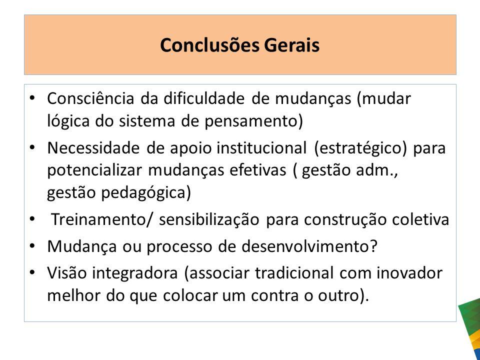 Conclusões Gerais Consciência da dificuldade de mudanças (mudar lógica do sistema de pensamento)