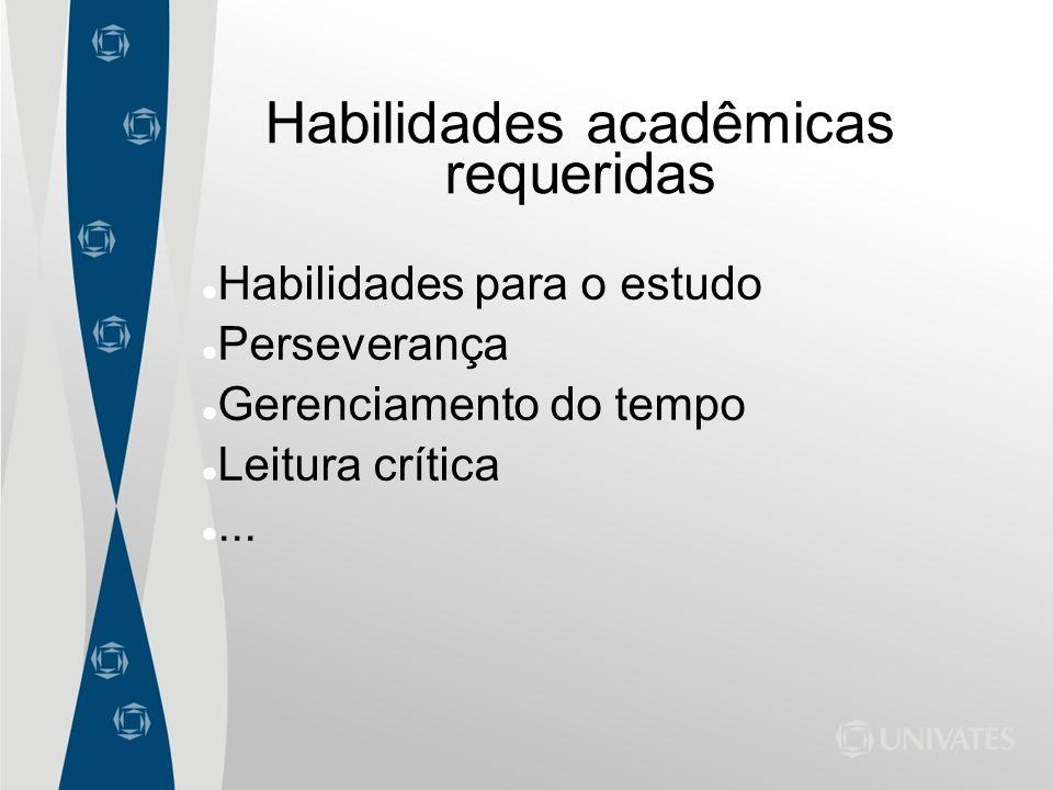 Habilidades acadêmicas requeridas