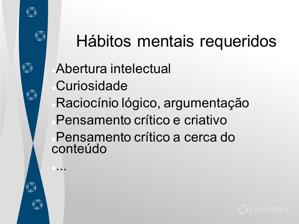 Hábitos mentais requeridos