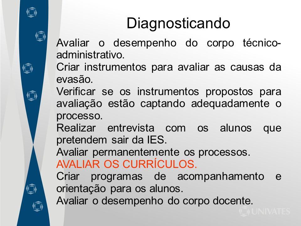 Diagnosticando Avaliar o desempenho do corpo técnico-administrativo.