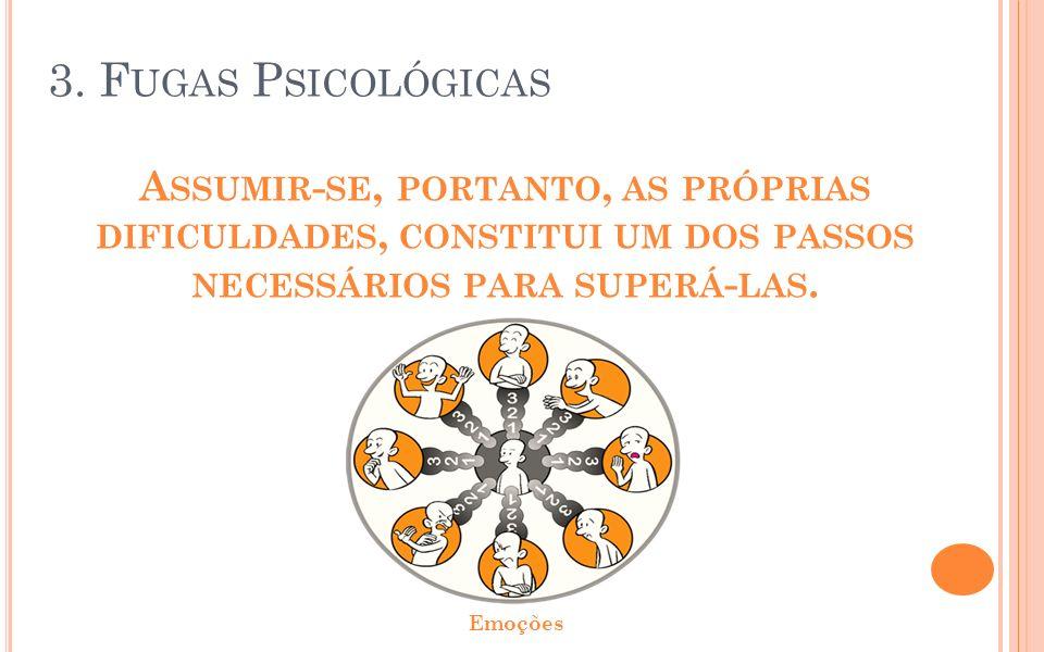 3. Fugas Psicológicas Assumir-se, portanto, as próprias dificuldades, constitui um dos passos necessários para superá-las.