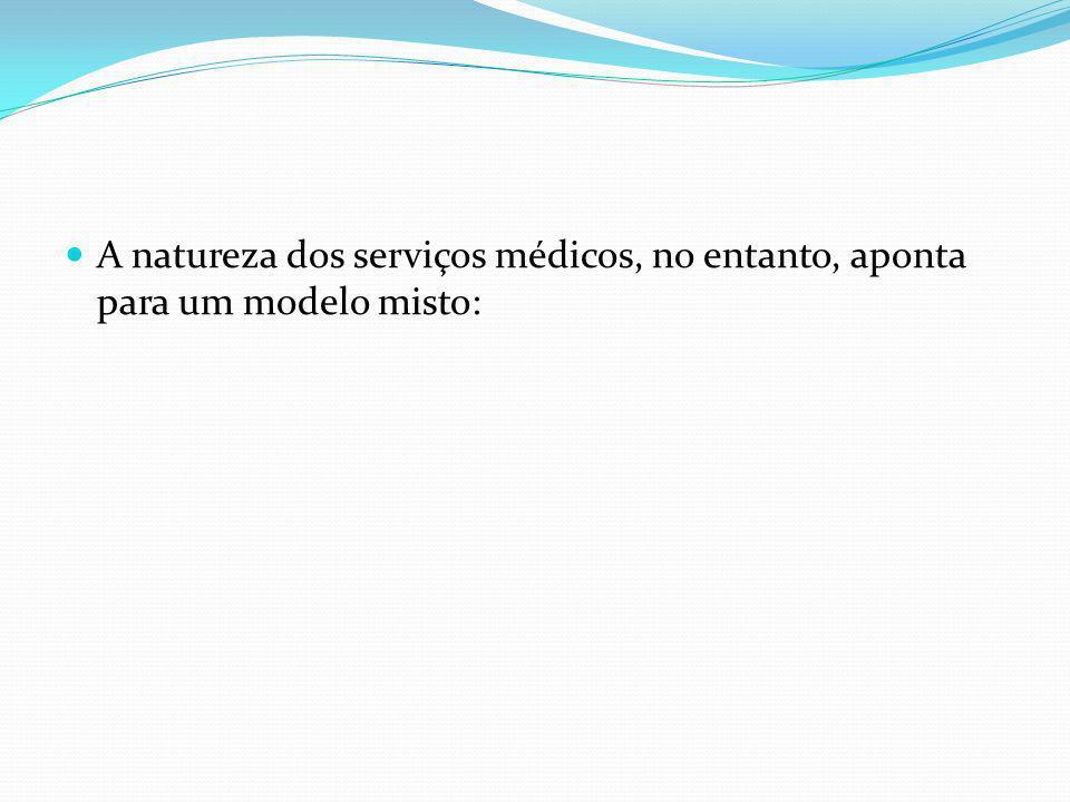 A natureza dos serviços médicos, no entanto, aponta para um modelo misto: