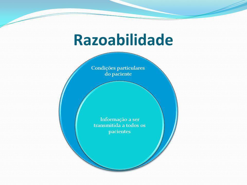Razoabilidade Condições particulares do paciente