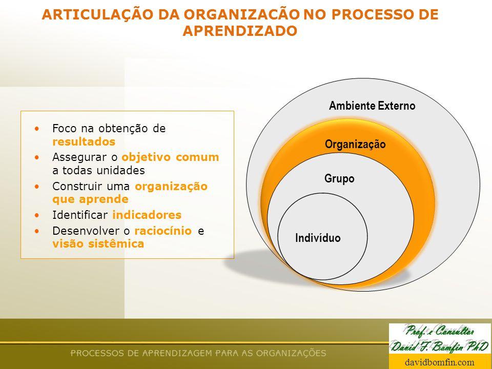ARTICULAÇÃO DA ORGANIZACÃO NO PROCESSO DE APRENDIZADO