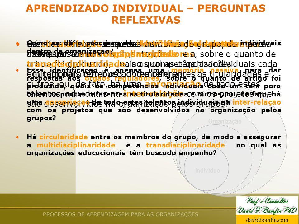 APRENDIZADO INDIVIDUAL – PERGUNTAS REFLEXIVAS