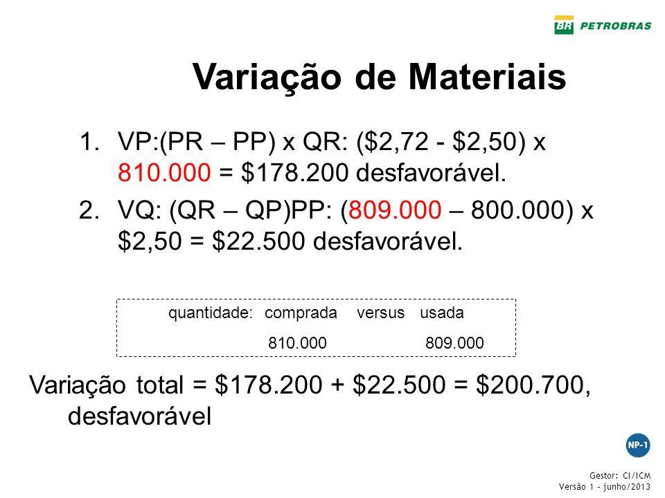 quantidade: comprada versus usada