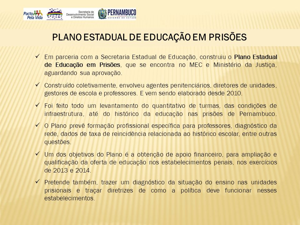 PLANO ESTADUAL DE EDUCAÇÃO EM PRISÕES