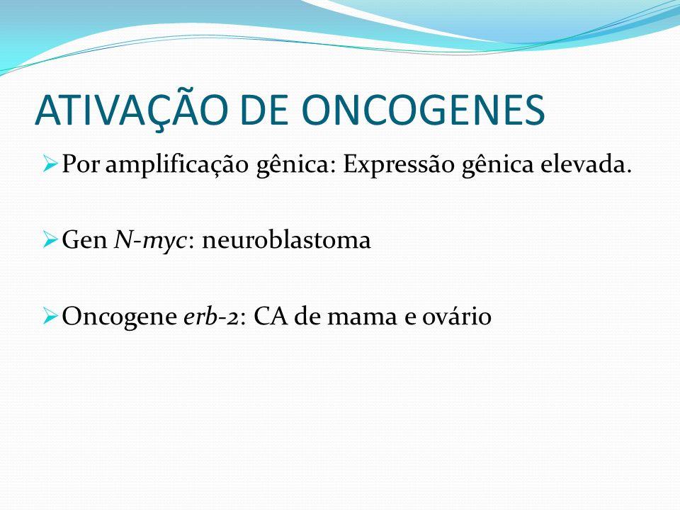 ATIVAÇÃO DE ONCOGENES Por amplificação gênica: Expressão gênica elevada. Gen N-myc: neuroblastoma.