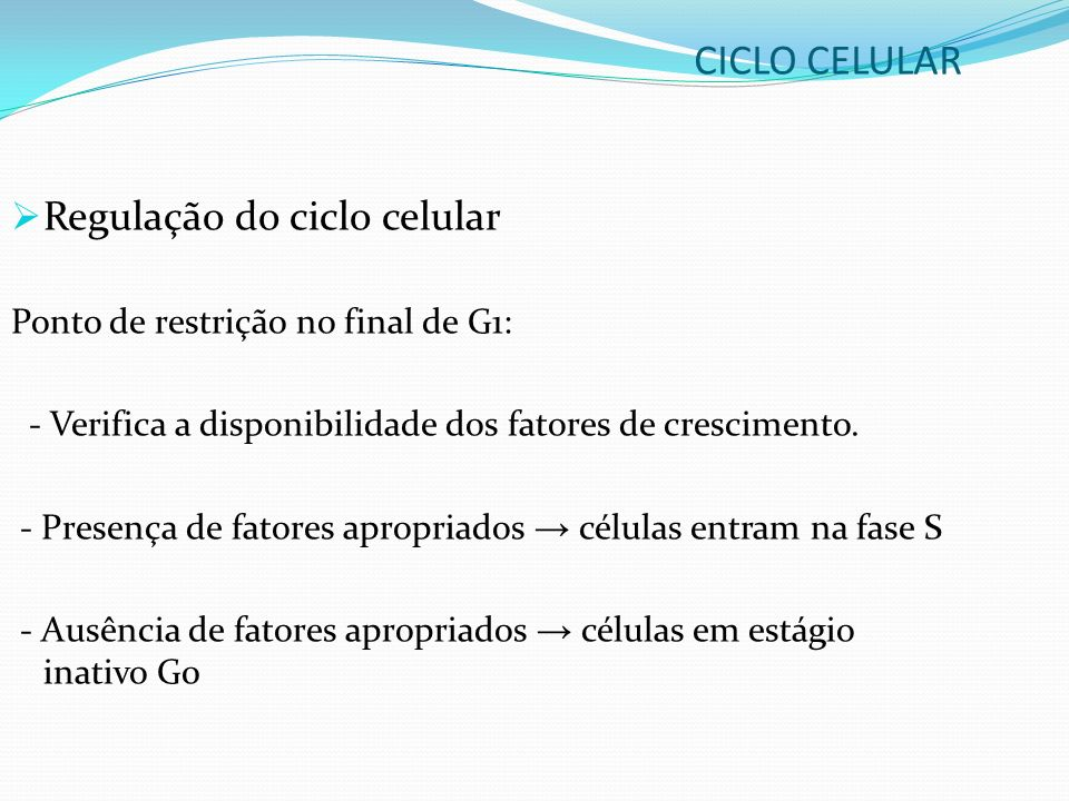CICLO CELULAR Regulação do ciclo celular