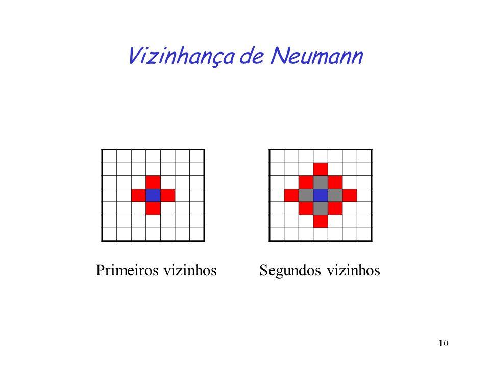 Vizinhança de Neumann Primeiros vizinhos Segundos vizinhos