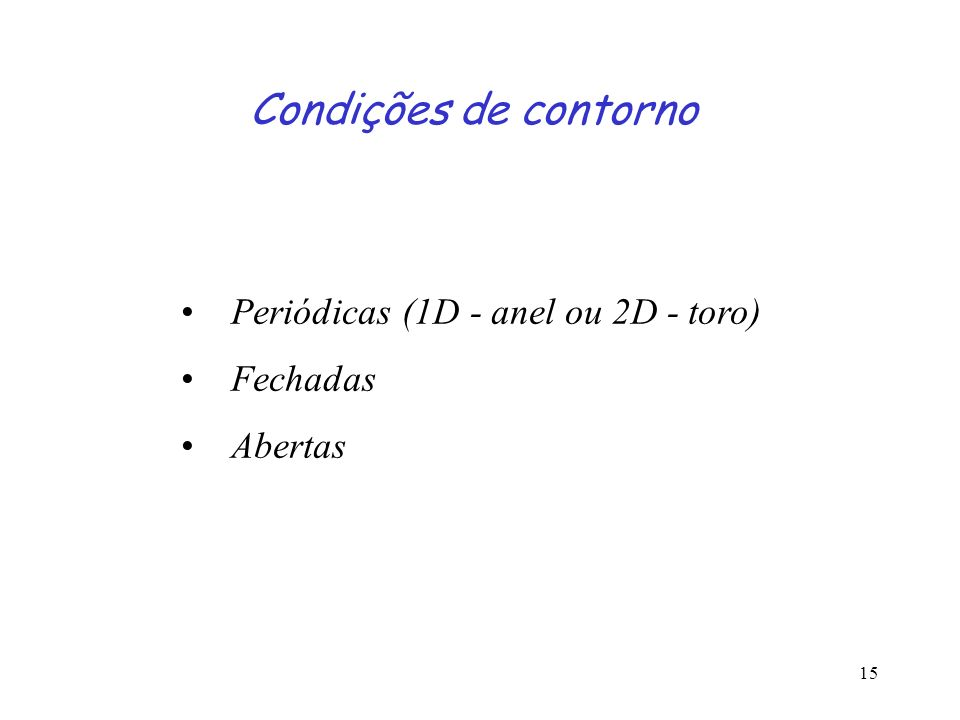 Condições de contorno Periódicas (1D - anel ou 2D - toro) Fechadas