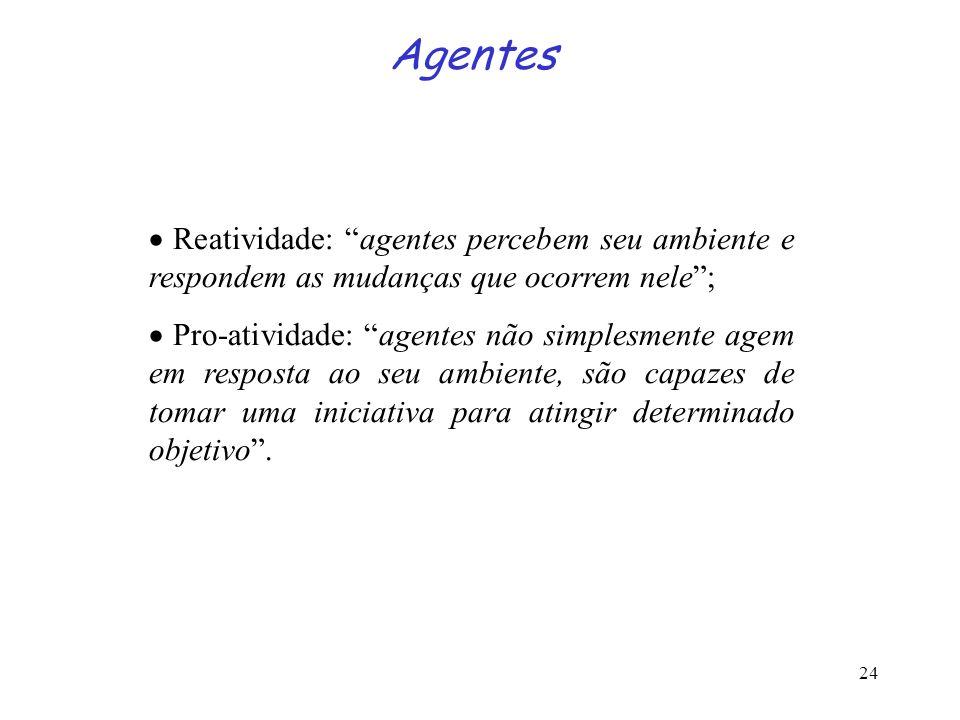 Agentes · Reatividade: agentes percebem seu ambiente e respondem as mudanças que ocorrem nele ;