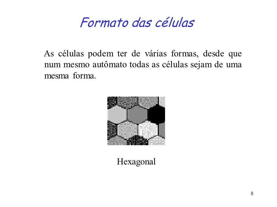 Formato das células As células podem ter de várias formas, desde que num mesmo autômato todas as células sejam de uma mesma forma.