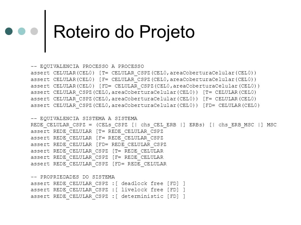 Roteiro do Projeto -- EQUIVALENCIA PROCESSO A PROCESSO