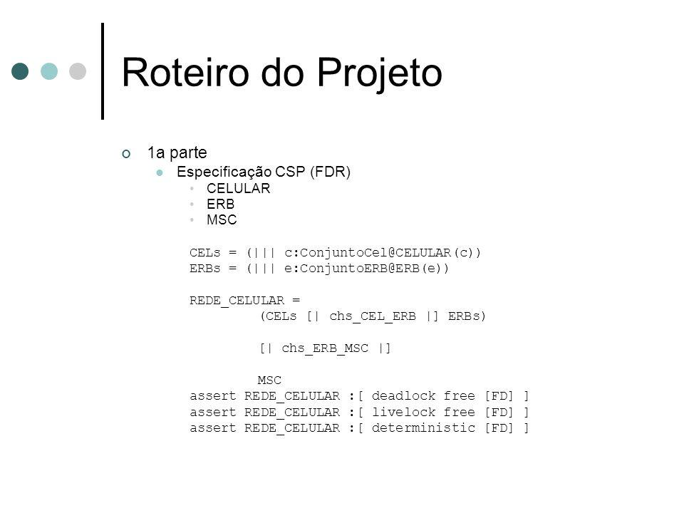 Roteiro do Projeto 1a parte Especificação CSP (FDR) CELULAR ERB MSC
