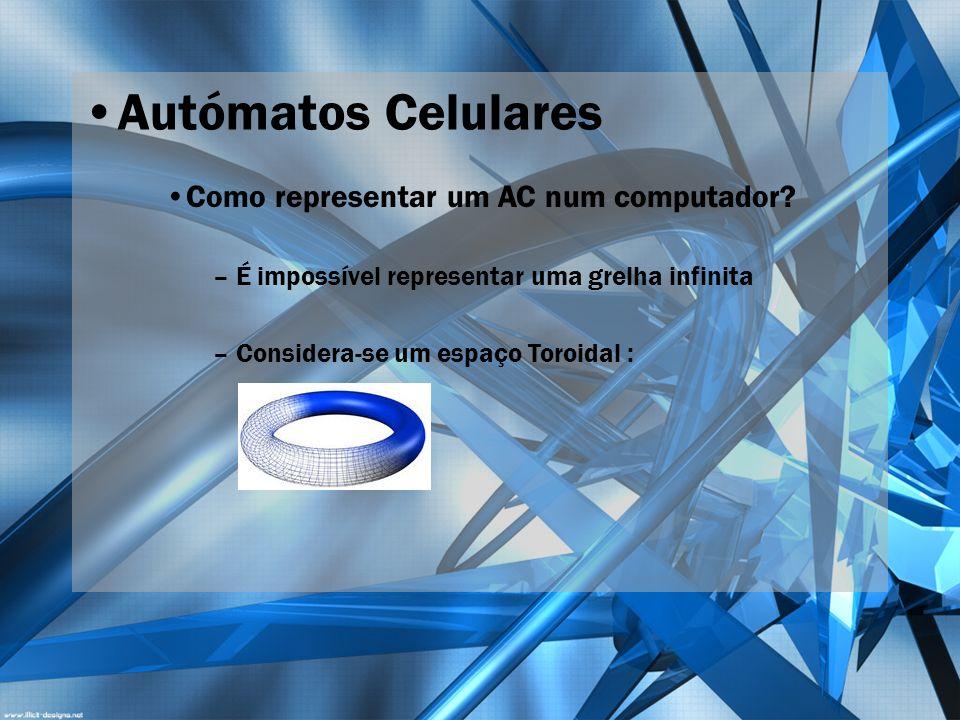 Autómatos Celulares Como representar um AC num computador