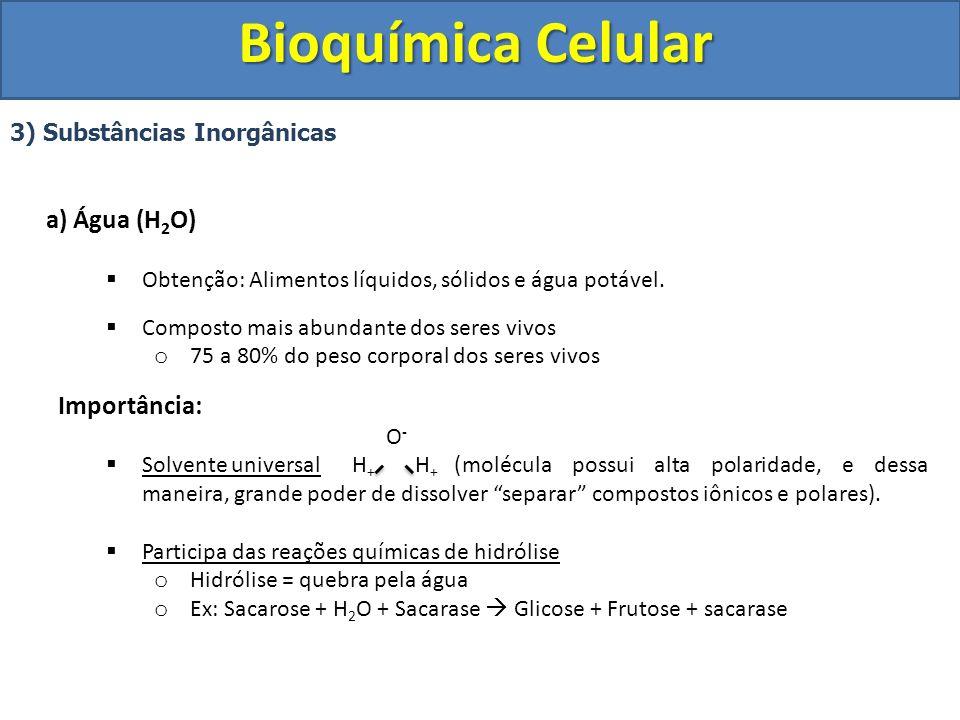 Bioquímica Celular Importância: 3) Substâncias Inorgânicas