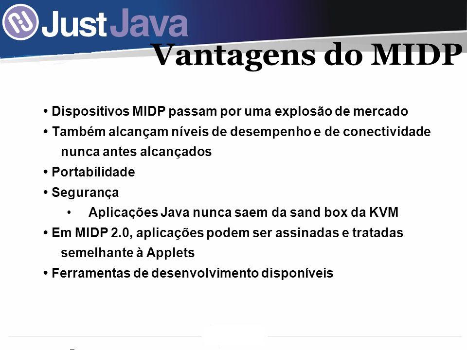 Vantagens do MIDP • Dispositivos MIDP passam por uma explosão de mercado.