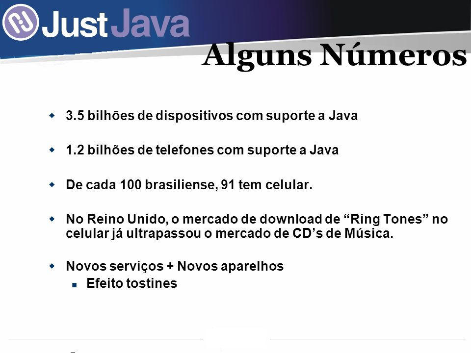 Alguns Números 3.5 bilhões de dispositivos com suporte a Java