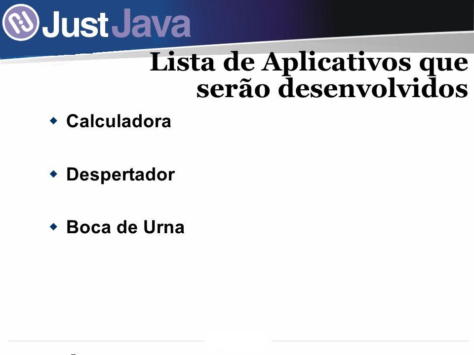 Lista de Aplicativos que serão desenvolvidos