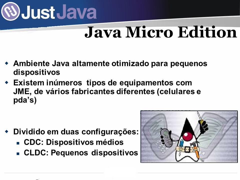 Java Micro Edition Ambiente Java altamente otimizado para pequenos dispositivos.
