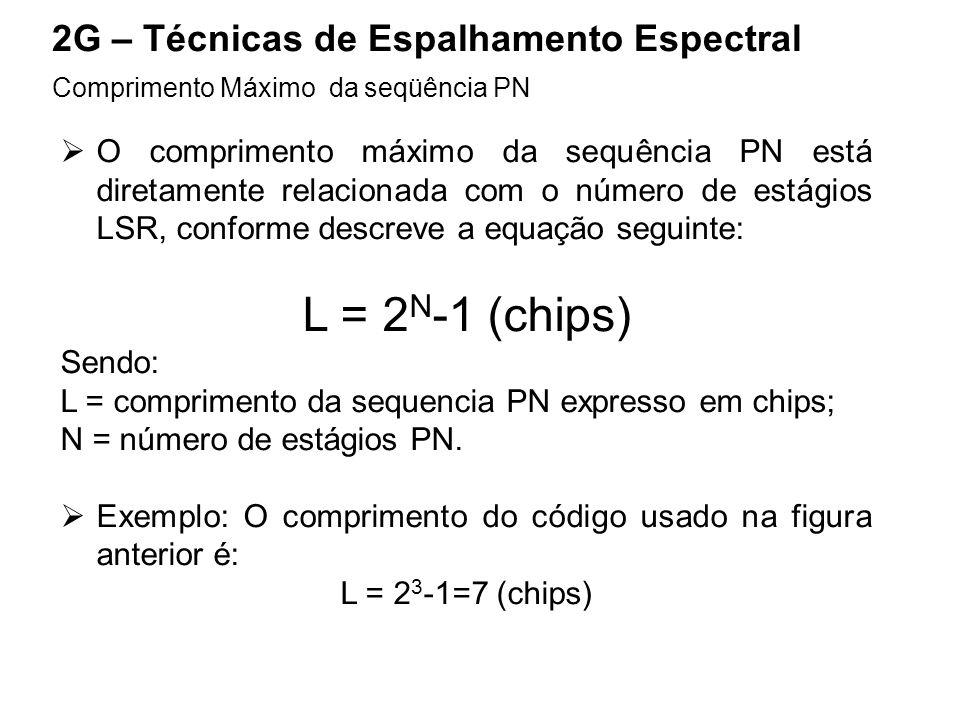 L = 2N-1 (chips) 2G – Técnicas de Espalhamento Espectral