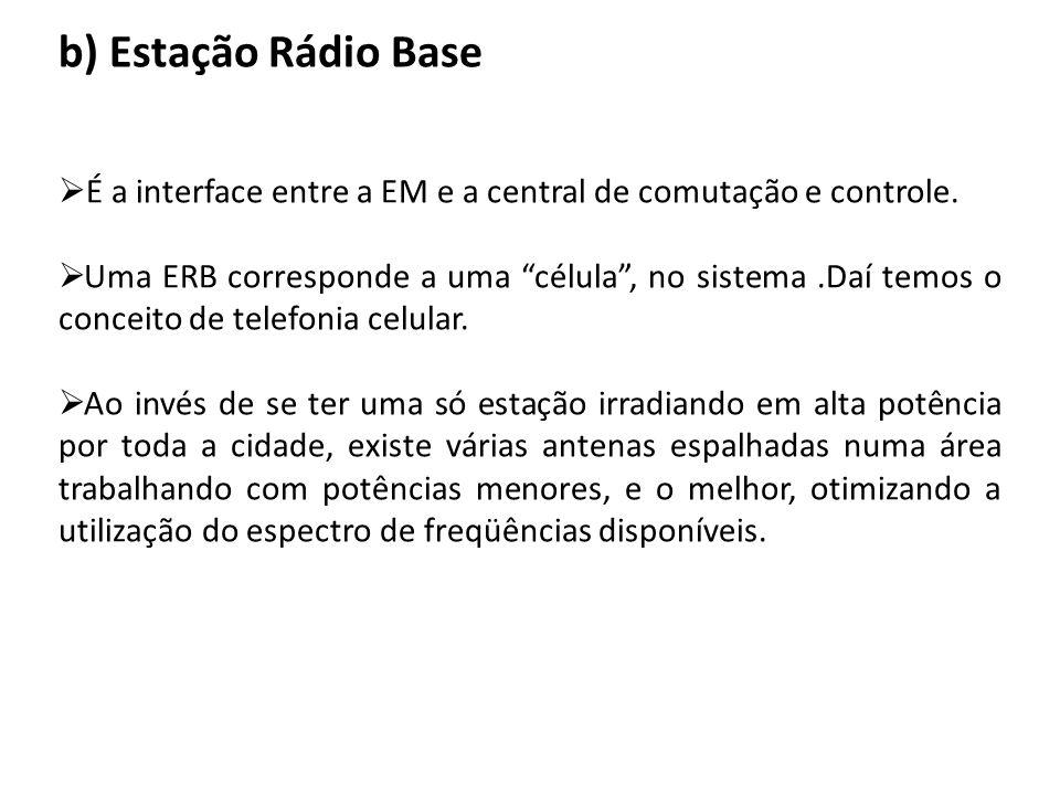 b) Estação Rádio Base É a interface entre a EM e a central de comutação e controle.