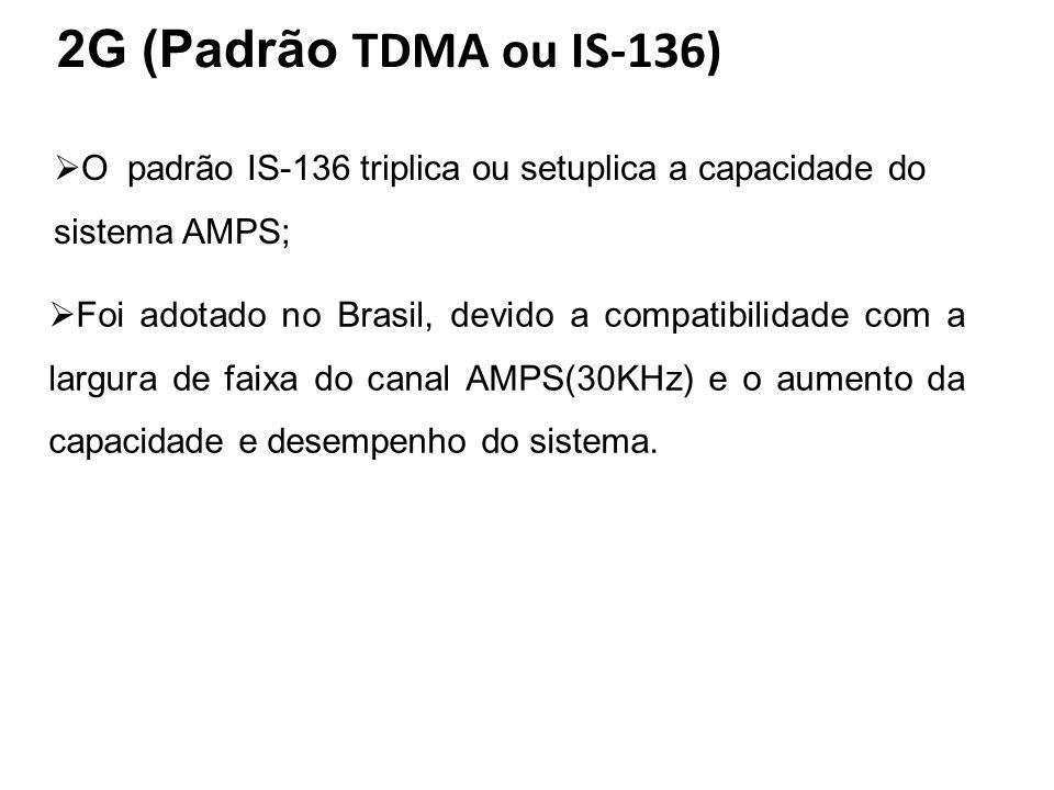 2G (Padrão TDMA ou IS-136) O padrão IS-136 triplica ou setuplica a capacidade do sistema AMPS;