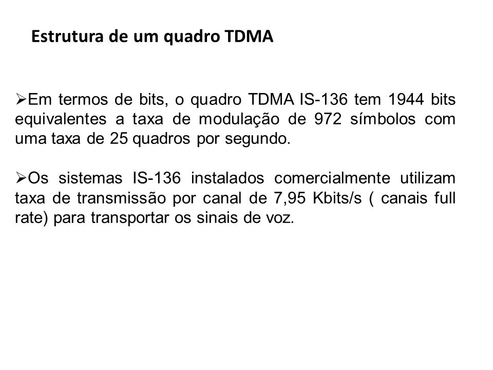 Estrutura de um quadro TDMA