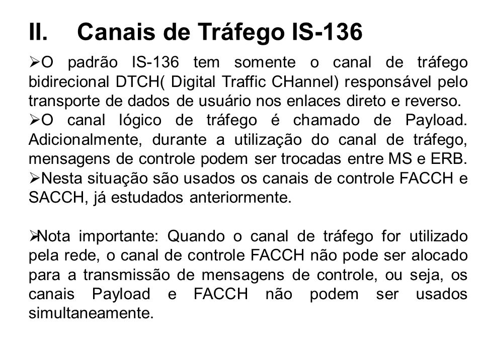 II. Canais de Tráfego IS-136