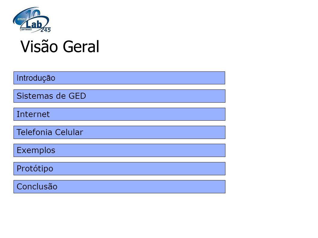 Visão Geral Introdução Sistemas de GED Internet Telefonia Celular
