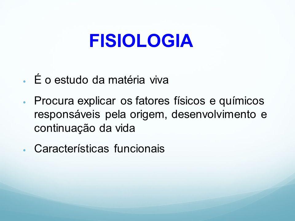 FISIOLOGIA É o estudo da matéria viva